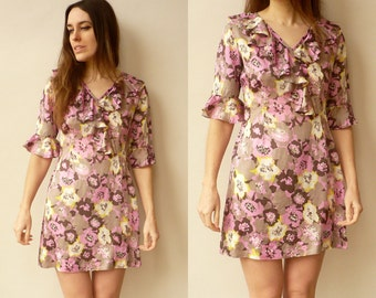 1970's Vintage Hippie Psychedelic Floral Print Mini Dress Size Small