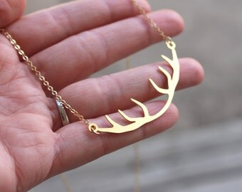 Deer Antler Necklace, 18K Gold Plated Country Pendant, Gold Antlers, Country Necklace Girls Gift Bridesmaids, Christmas