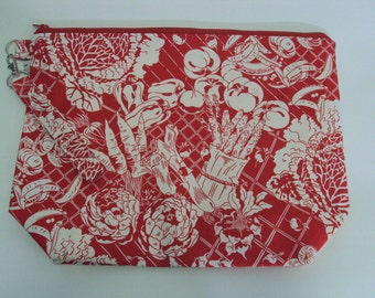 Medium Red Garden Zippered Project Bag