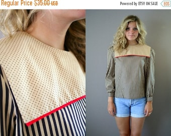 ON SALE Vintage 70s Striped Sailor Blouse