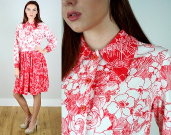 Vintage 1970s Red Floral Shirt Dress