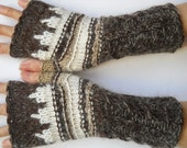 HAND KNIT GLOVES / Women Accessories Fingerless Mittens Elegant Warm Wrist Warmers Arm Chic Crochet Winter Gift Romantic Cabled Striped  315