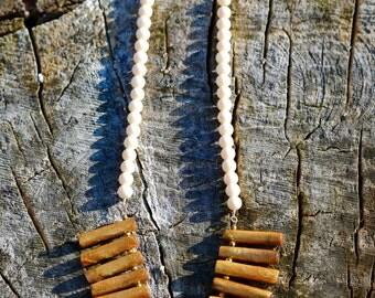 Wood bead fringe necklace