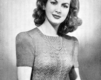 1940s Ladies Square Neck Lacy Jumper 3 Sizes 32 to 36 Bust Bestway 1934 Vintage Knitting Pattern Download