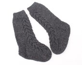 Lace Knee High Wool Baby Socks. Hand Knit Charcoal Knee High Baby Socks. Baby Boy Knee High Socks.
