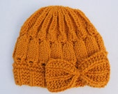 Hand Knit Mustard Baby Bow Hat
