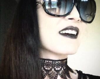 Handmade black lace choker necklace