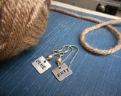 Create Knit. Sterling Silver stamped earrings with champagne freshwater pearls