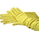 Bright Chartreuse Vintage Evening Gloves Opera Gloves Womans Long Vintage Gloves Formal Dress Gloves Nylon Yellow Spring Fashion