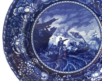 Antique Staffordshire Historical Plate Dark Blue Transferware Plate R&M Co