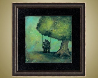 PRINT or GICLEE Reproduction -- Couple Swinging Print Couples Art Romantic Art -- Grow Old With Me