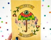 it's okay to cry, the sky does too / high quality art print on real wood / kitsch positive cry baby umbrella tattoo inspired