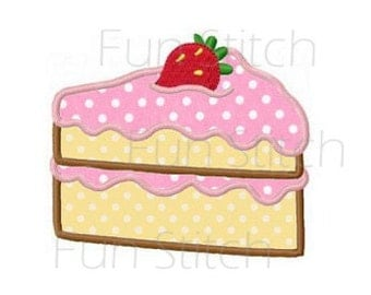 strawberry cake applique machine embroidery design instant download