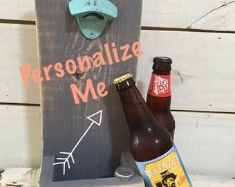 Customizable wood beer catcher