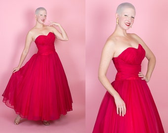 JAW-DROPPING Gorgeous 1950s Crimson Red Sheer Chiffon Strapless Evening Gown w/ Sweetheart Ruched & Pleated Bodice / Midsection - Dior - M