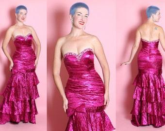 TOO FABULOUS Vintage Bombshell Metallic Magenta Fuchsia Lame' Strapless Extreme Hourglass Showgirl Evening Gown w/ Tiered Mermaid Hem - M