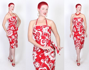 EXOTIC 1950's Hawaiian Lipstick Red & White Floral w/ Huge Cherries Cotton Hourglass Sarong Dress by Kamehameha - Halter or Strapless - M