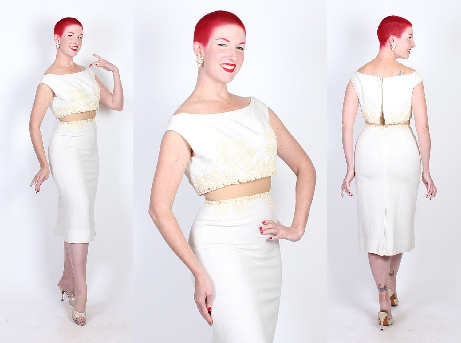 DESIGNER 1950's Bombshell Linen w/ Floral Applique Extreme Hourglass Cocktail Dress w/ Illusion Nude Nylon/Mesh Midsection by Peggy Hunt - M