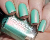 "Nail polish - ""Pending Perfection"" Mint creme with pink shimmer polish"