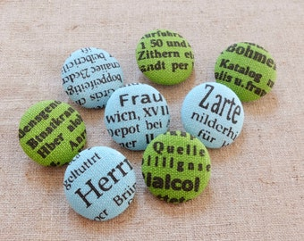 Fabric Covered Buttons (M) - French Style Retro Black Letters On Blue Or Green, Choose Color(5Pcs, 0.87 Inch)