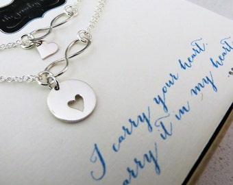 I carry your heart bracelet, mother daughter set, gold or silver, gift for bride, infinity necklace