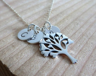 grandma gift, tree of love pendant initials necklace, mother in law, hand stamped necklace, aunt, heart, grandmother, granny