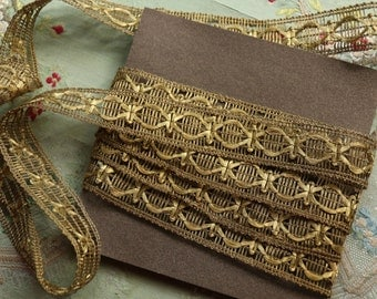 "1 yard French gorgeous antique lace trim metal ribbon 1"" wide gold woven ribbonwork projects hat"