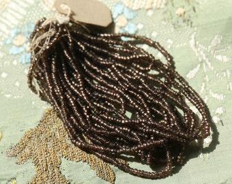 Antique glass bead trim hank brown plum victorian silk millinery net tulle hat cloche flapper doll dress trim