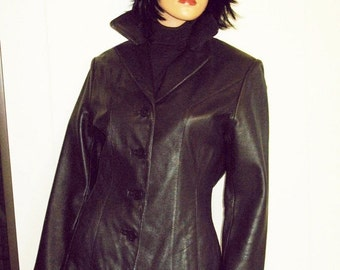 GORGEOUS Classic Cut  40s Styling  Dark Brown Supple Pelle Studios By Wilson Leather Coat Size Small MINT