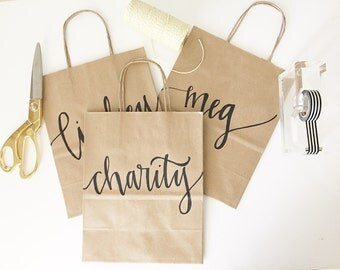Custom gift bags + Kraft gift bags + Wedding gift bags + Bridal shower gift bag + Bachelorette Party bags + Welcome Bags / Handwritten