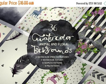 60% OFF SALE Watercolor Digital Backgrounds and Seamless Patterns - animals, flowers, stripes and ombre
