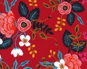 Red Navy Mustard and Blue Floral Rayon Challis, Les Fleurs By Rifle Paper Co for Cotton and Steel, Birch Floral in Enamel, 1 Yard