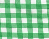 Green and White Buffalo Check Cotton Lycra Jersey Knit Fabric, 1 Yard