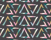 Charcoal Pink Mustard and Teal Geometric Triangle Jersey Knit Fabric, Chalk and Paint Caroline Hulse for Art Gallery Fabric, 1 Yard