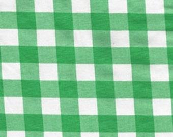 Green and White Buffalo Check Cotton Lycra Jersey Knit Fabric, 1 Yard