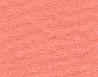 Solid Coral 4 Way Stretch 9oz Cotton Lycra Jersey Knit Fabric, 1 Yard