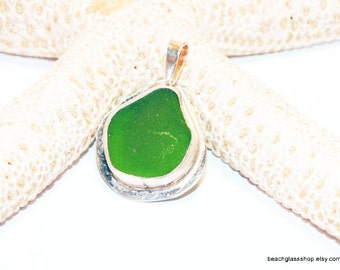 Sterling Sea Glass Pendant - Green Beach Glass Necklace - 925 Sterling Necklace