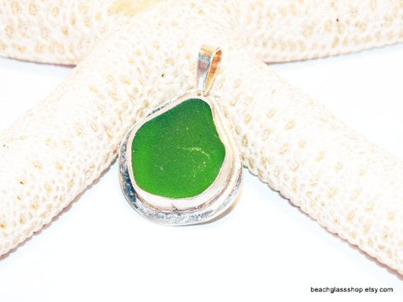 St Patricks Day - Sterling Sea Glass Pendant - Green Beach Glass Necklace - 925 Sterling Necklace - FREE Shipping inside the US