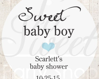 Boys Baby Shower Favor Stickers - Baby Shower Thank You Stickers - White Favor Stickers - Blue Heart (Sweet Baby Boy) - Set of 24