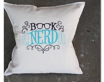 book nerd, glasses pillow, turquoise