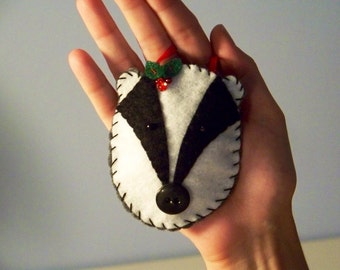 Badger Felt Ornament--Treasury Item