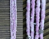 Winter Clip in Crochet Synthetic Dreads - purple white snowflakes