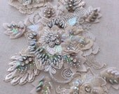 Ivory/silver/gray Beaded Lace Appliqué