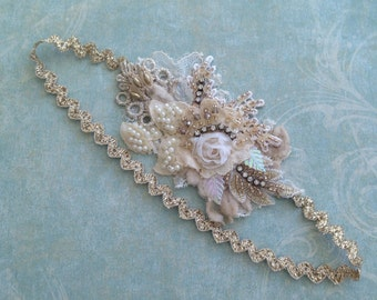 Gold/ Cream Beaded lace headband