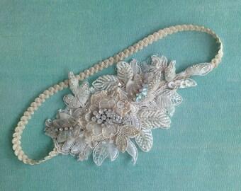 Ivory Lace Beaded  Bridal Headband