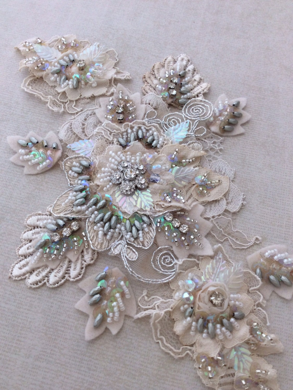 ivory silver gray beaded lace appliqu 233