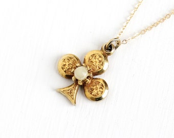 Vintage Yellow Gold Filled Shamrock Pendant Necklace - Retro 1950s Simulated Pearl Flower Three Leaf Clover Irish Goodluck Jewelry