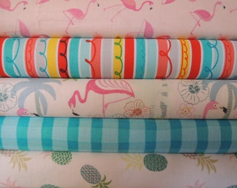 Flamingo Tropical Rag Quilt Kit,  Easy to Make, Personalized