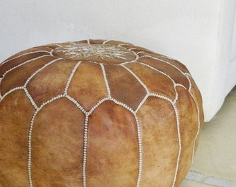 Summer Sale 20% off Spring trends,gifts for her, tan brown Moroccan leather pouf, for newly weds-home & living, home decor