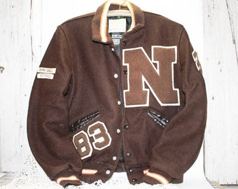 1983 Letterman's Jacket, Brown Wool, Softball, Basktball